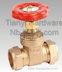 Horizontal Manual Brass Red Color Handle Hard Seal Gate Valve