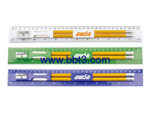 Promotional 30cm ruler set with pencils,eraser and sharpener