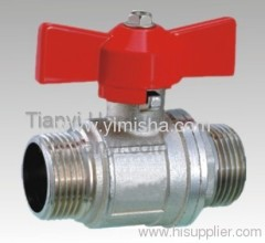 Horizontal Brass Red Butterfly Handle Two General Formula Thread Hard Seal Ball Valve
