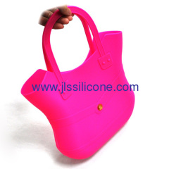 Eco friendly silicone rubber shopping handbag without lock