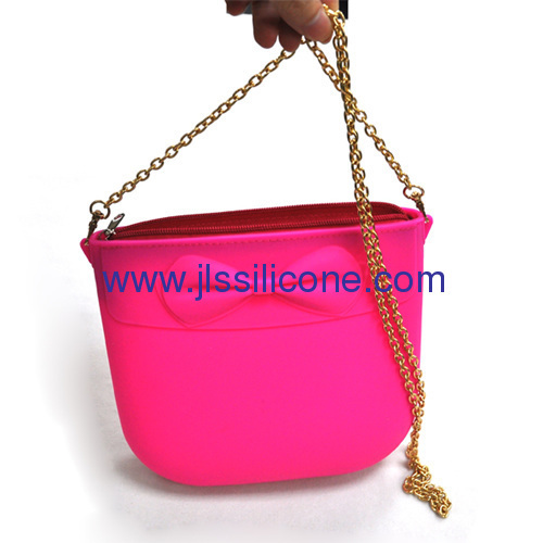 Zipper locked silicone shopping bag with metal belt