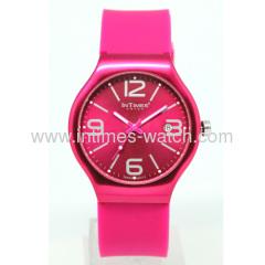 Silicone bracelet Aluminum Case Swiss Movt Intimes brand quartz watch