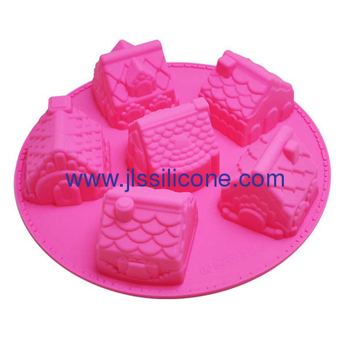 6 cavities bakeware silicone cake pans with Christmas house shape