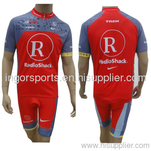 Sublimated Pro Team Radio Shack Cycling Suit Jersey And Bib Shorts Bicycle  Clothes For Men 684ed3452