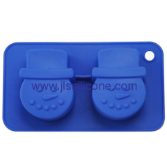 small snow man shaped Silicone cake baking pan with 2 cavities