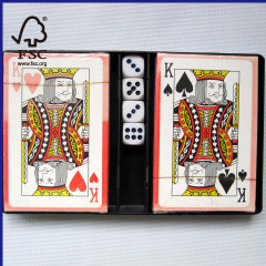 2 sets of playing cards plus 4 dice