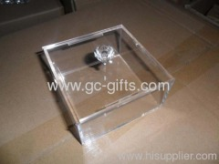 Graceful and plain acrylic clear of makeup box with diamond-shaped handles