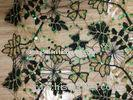 Water Soluble Swiss Black Guipure Lace Fabric , Stretch Lace