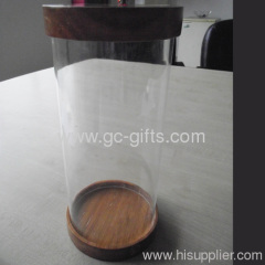Cylindrical and useful acrylic display case with two wooden lids