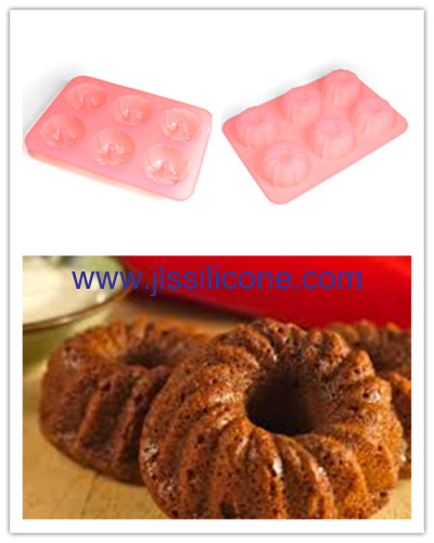 pink silicone budnt cake baking molds with 6 cavities