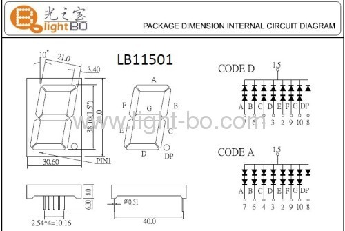 Common anode Single-digit 1.5seven segment WHITE LED Display