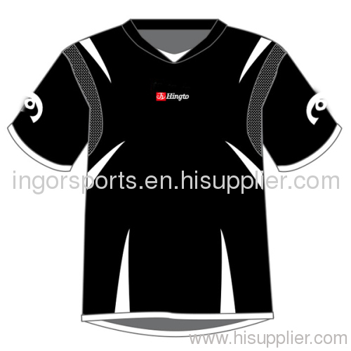 b0402fb0e Customized Black Sublimated Soccer Uniforms T-Shirts and Shorts For Adult  XS - 5XL