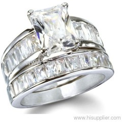 Scott Kay Inspired Past Present and Future Wedding CZ Ring Set