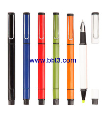 Promotional square shape ballpoint pen with highlighter