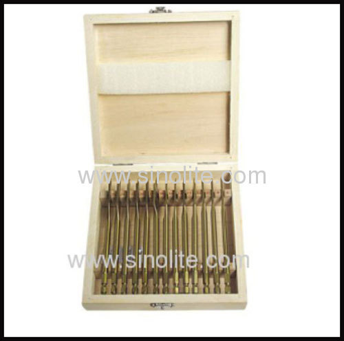 Flat spade bit 13pcs size 6-8-10-12-13-14-16-18-19-20-22-24-25mm, length 152mm, titanium quick shank in wooden box