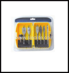 Wood flat spade bit set 7pcs Size 10-12-16-18-20-25mm length 152mm quick shank packed plastic box