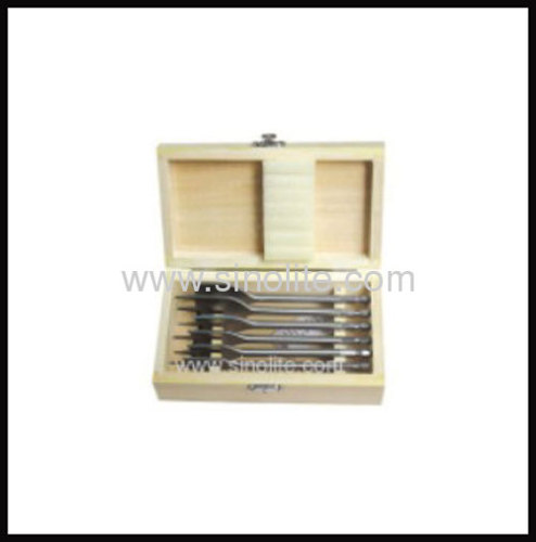 Wood flat spade bit 6pcs size 13-16-19-22-25-32mm, length 152mm, quick shank packed in wooden box