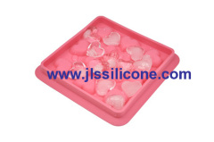 pink heart silicone ice cube trasy with 12 cubes