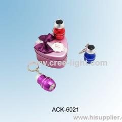 Multi Color Gourd Design 3LED Aluminum keychain light ACK-6021