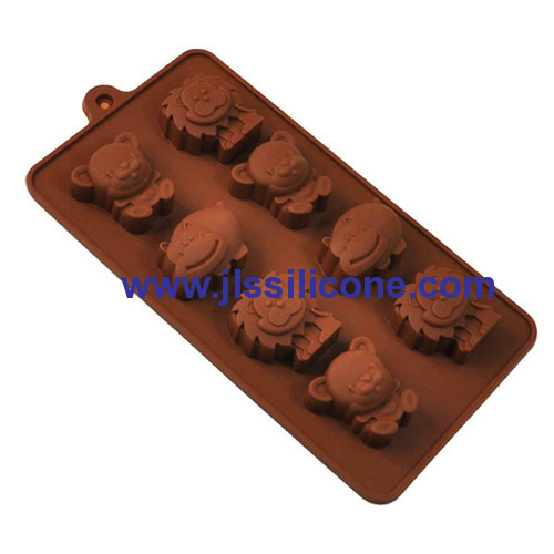 8 cavity silicone chocolate lion candy mold