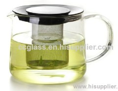 Borosilicate Hand Blown Glass Tea Pots With Stainless Steel Tea Strainer