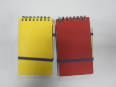 double wire notepad with pencil&elastic band college ruled