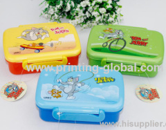 Plastic Dinner Box Of Thermal Transfer FilmWith Cartoon Design
