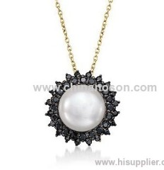 14K Gold Drop Pearl Necklace with Black CZ