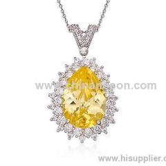 Yellow and White CZ Pendant Necklace in Brass