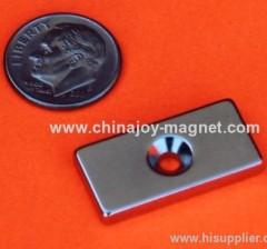 Neodymuim N45 Bar Magnet 1 in x 1/2 in x 1/8 in w/Countersunk Hole
