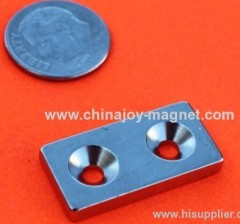 N48 Neodymium Magnets 1 in x 1/2 in x 1/8 in w/2 Countersunk Holes