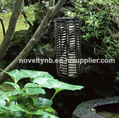 solar hanging lanter garden light with rattan plaited articles