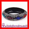 2013 new colorful geometry pattern pave crystal bangle bracelets