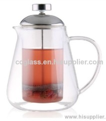 Elegant Innovative Design Double Wall Glass Teapot Coffee Pot