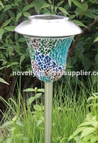 solar power mosaic stake light