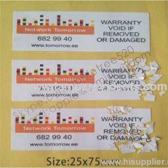 Eggshell Paper Warranty Security Sticker