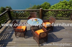 Small size outdoor wicker dining table and chairs