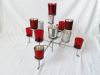metal base glass cup candle holder with silver color