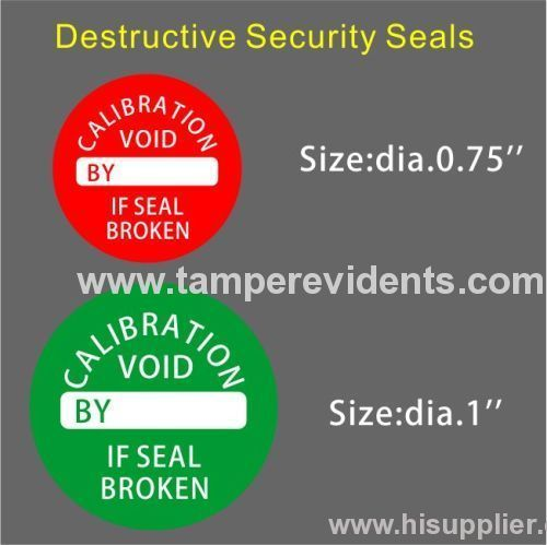 Round Destructible Calibration Void Stickers From China