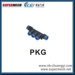 Pneumatic plastic pipe fitting