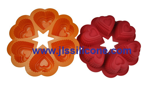 conjoined 6 heart silicone bakeware mould cake bake tray