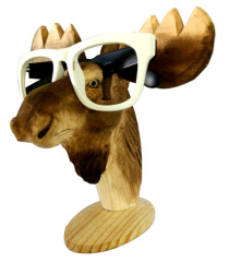Goat Head Shape Carved Wood Glasses Holder
