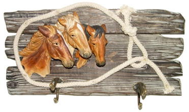 Horse Bust on Wood base Carved Hook