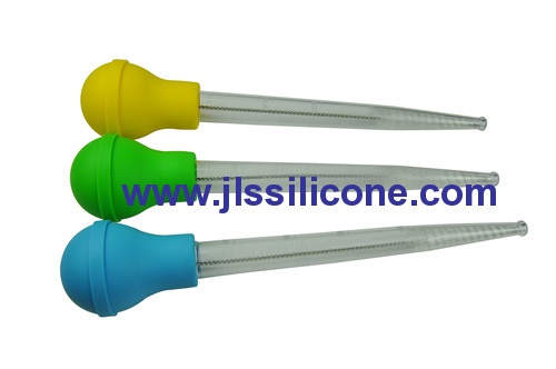 flexible silicone baster with metal wire cleaning brush