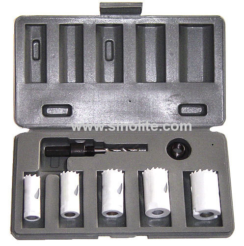 7pcs Bi-metal Handyman Hole Saw Kit; 7/8 -1 -1-1/8 -1-1/4 -1-1/2 , (22-25-29-32-38mm), arbor: 3/8hex shank, adatpor