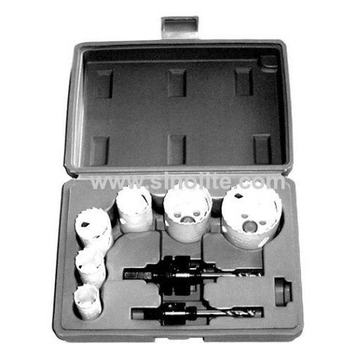 8pcs Bi-metal Lockset Hole Saw Kits; Sizes 7/8 , 1 , 1-5/16 , 1-1/2 , 1-3/4 , 2-1/8(22-25-32-38-44-54mm), 2 Mandrels