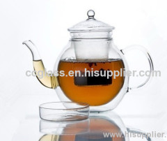 Wholesales Hand Blown Double Wall Glass Teapots Coffee Pots