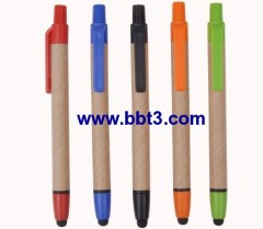 Promotional eco stylus ballpen with plastic clip