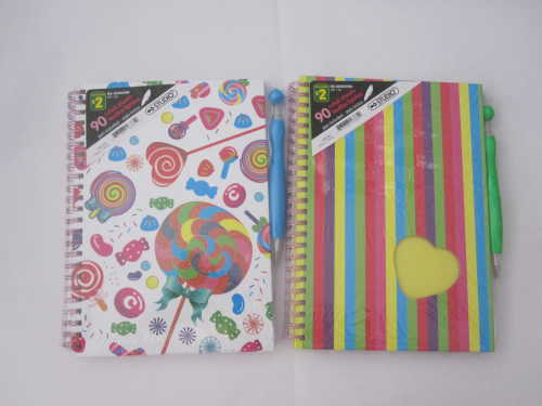 B6 4 subject college ruled hardcover spiral notebook with pen