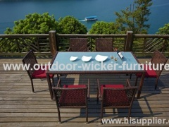 tempered glass rattan dining table and chairs
